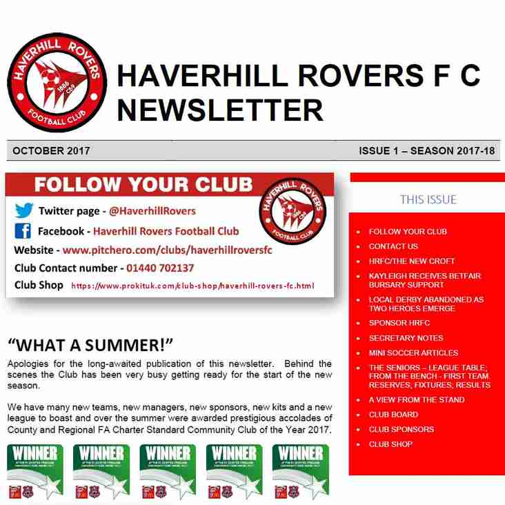 HAVERHILL ROVERS F C NEWSLETTER  (Season 2017-18  ISS.1  OCT 17)
