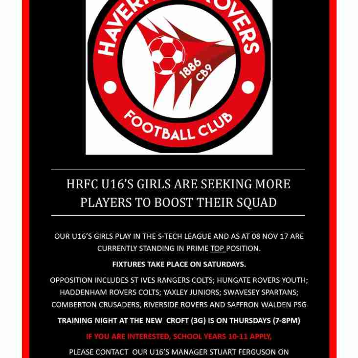 HRFC U16'S GIRLS SEEKING MORE PLAYERS TO BOOST THEIR SQUAD