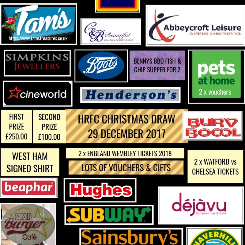 CONGRATULATIONS TO OUR HRFC CHRISTMAS DRAW WINNERS 2017