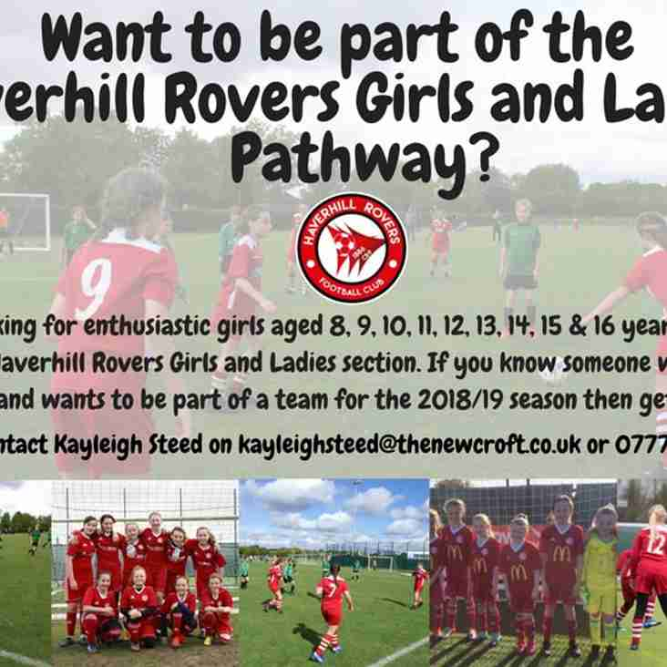 GIRLS AND LADIES - HRFC WANTS YOU FOR THE NEW SEASON!