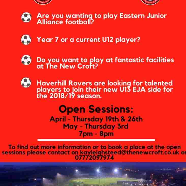 HRFC OPEN SESSIONS APRIL & MAY 2018 - U13'S EJA - NEW SIDE 2018-19