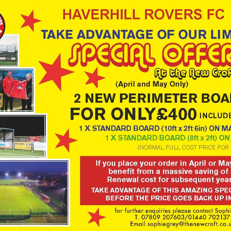 ADVERTISE YOUR BUSINESS - SPONSOR HAVERHILL ROVERS FC 2018-19
