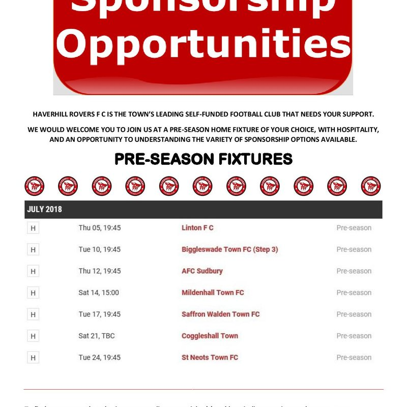 HAVERHILL ROVERS F C FIRST TEAM SPONSORSHIP OPPORTUNITIES 2018-19