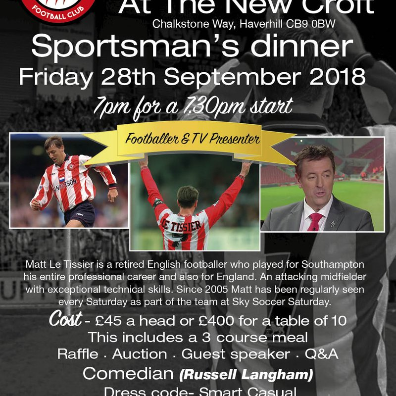 MATT LE TISSIER COMING TO THE NEW CROFT - FRI. 28 SEPTEMBER 2018