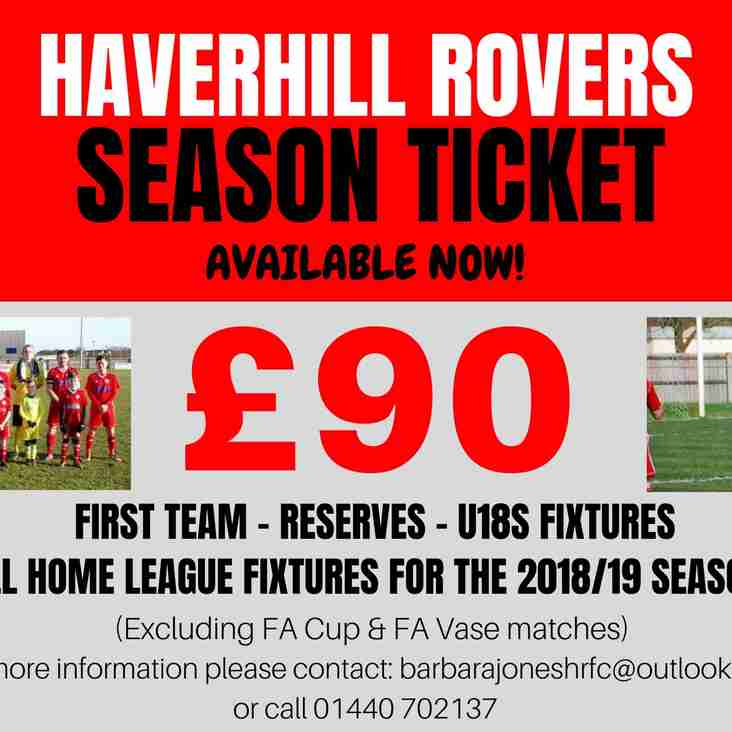 TREAT YOURSELF - HAVERHILL ROVERS F C SEASON TICKET 2018-19