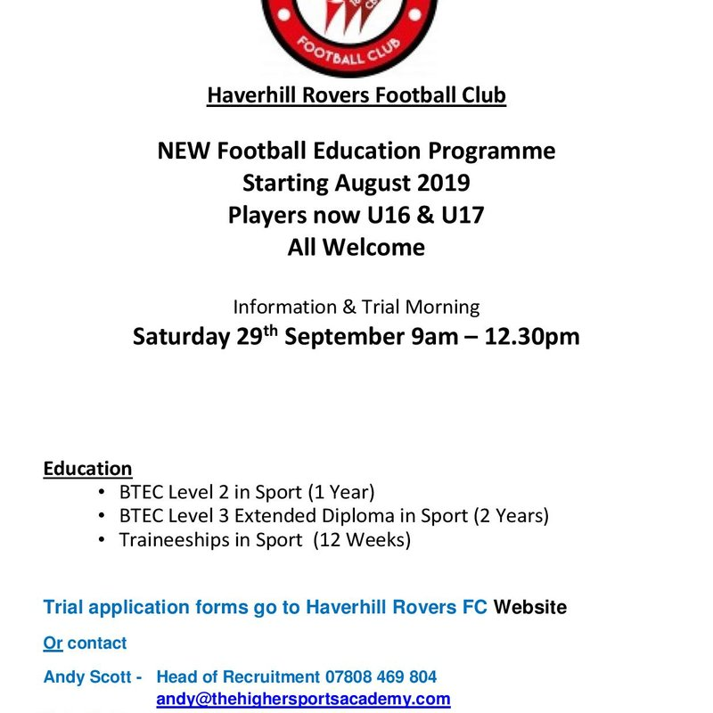 NEW FOOTBALL EDUCATION PROGRAMME 2018-19 INFORMATION AND TRIAL MORNING
