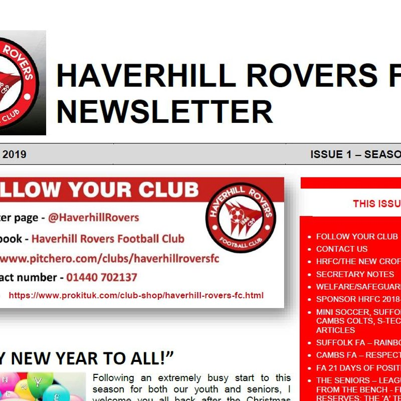 HRFC NEWSLETTER - SEASON 2018-19 (Issue 1 - January 2019)