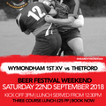 22nd September 2018 Pre-match Lunch - Book Now Online