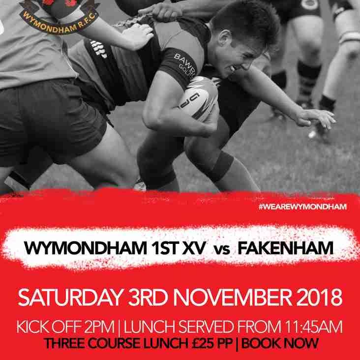BOOK NOW - Saturday 3rd November v Fakenham RFC Pre-match Lunch