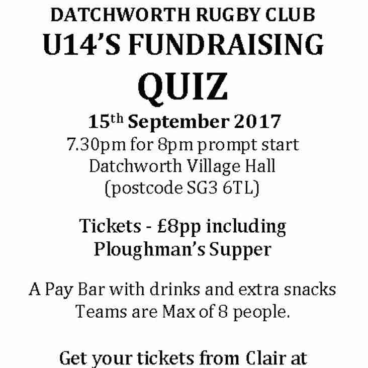 U14's Quiz Night Fri 15th Sept 2017