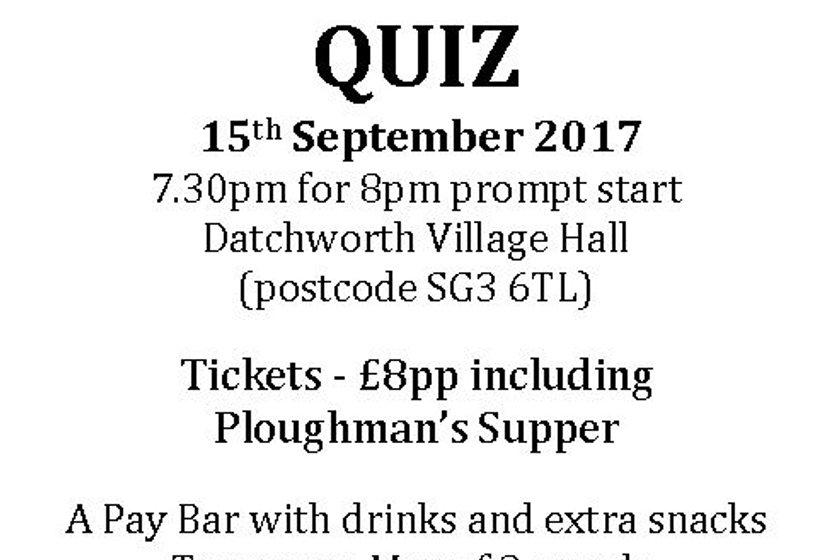 U14's Quiz Night Fri 15th Sept 2017