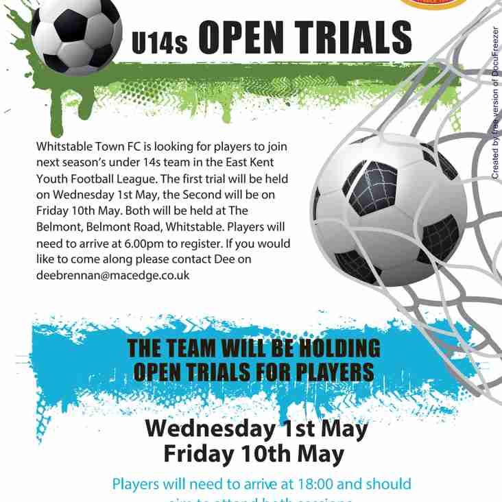UNDER 14S OPEN TRIAL DATES RELEASED