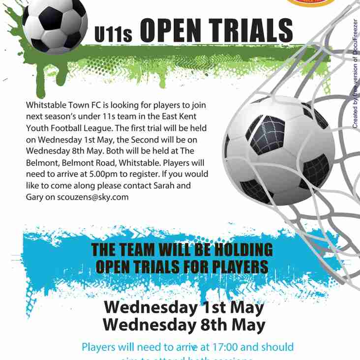 UNDER 11S OPEN TRIALS