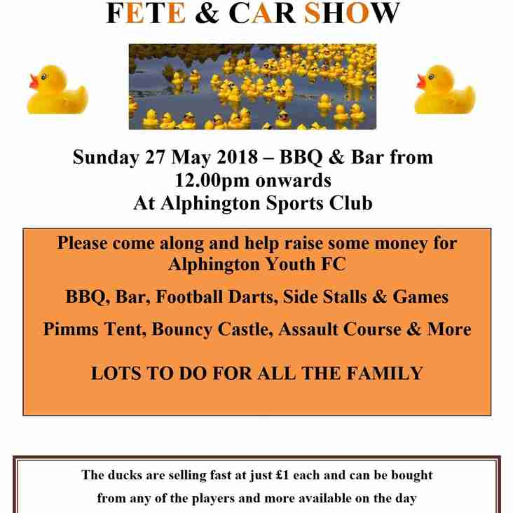 Duck Race 2018 - Fete & Car Show - Sunday 27th May