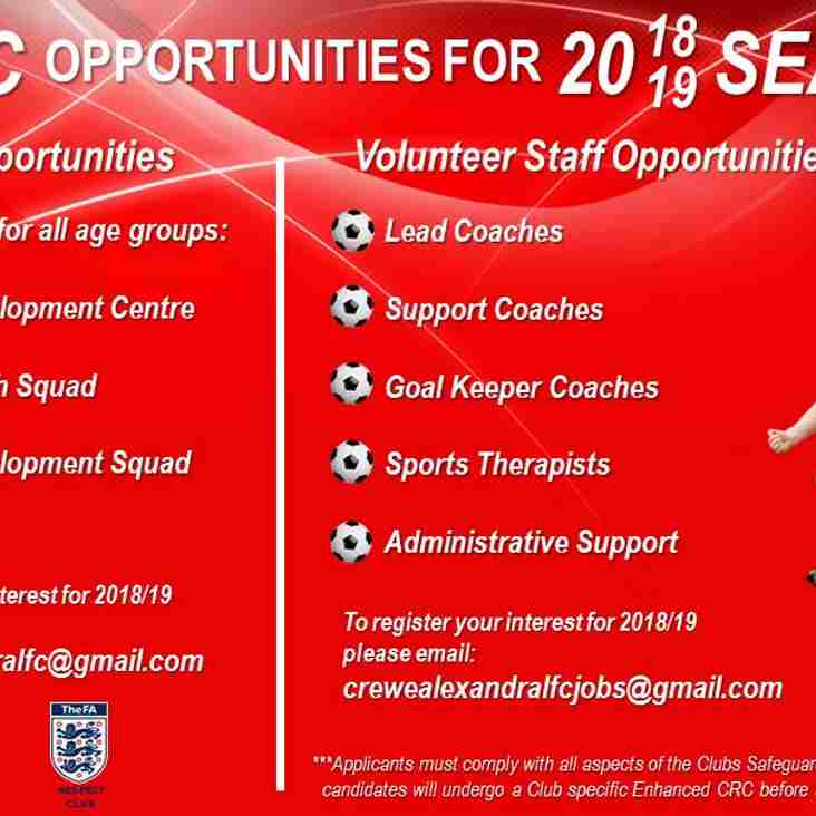 2018-19 Season Opportunities with CALFC
