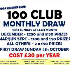100 CLUB MONTHLY PRIZE DRAW - RENEWALS UPDATE