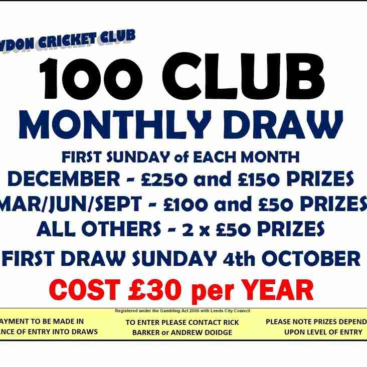 100 CLUB MONTHLY PRIZE DRAW - RENEWALS