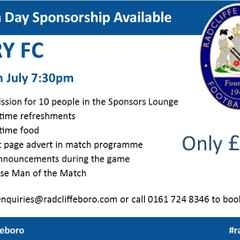 Match Day Sponsorship available for Bury clash on 29th July!