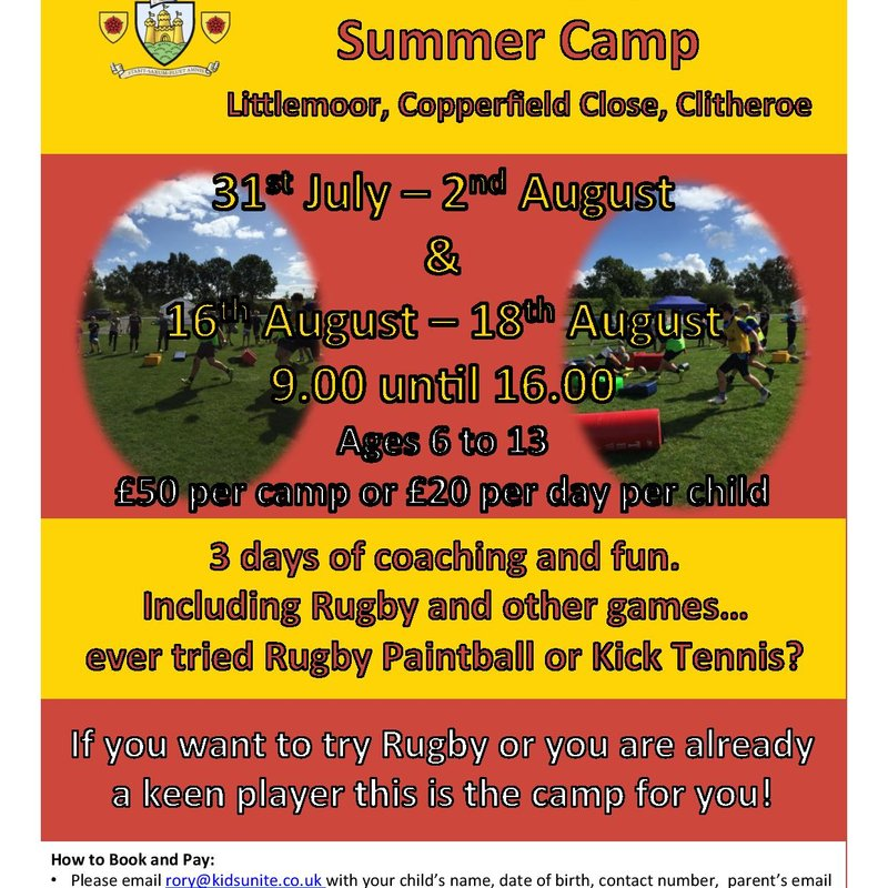 Kids Summer Camp Rugby @ Clitheroe RUFC