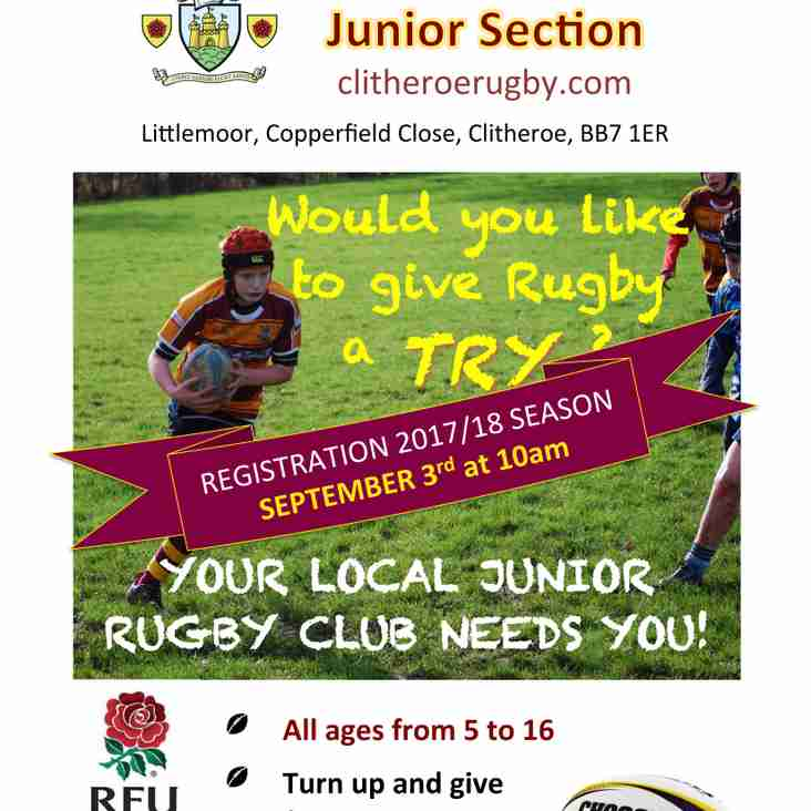 Junior/Mini Rugby Restarts Sunday 3rd Sept