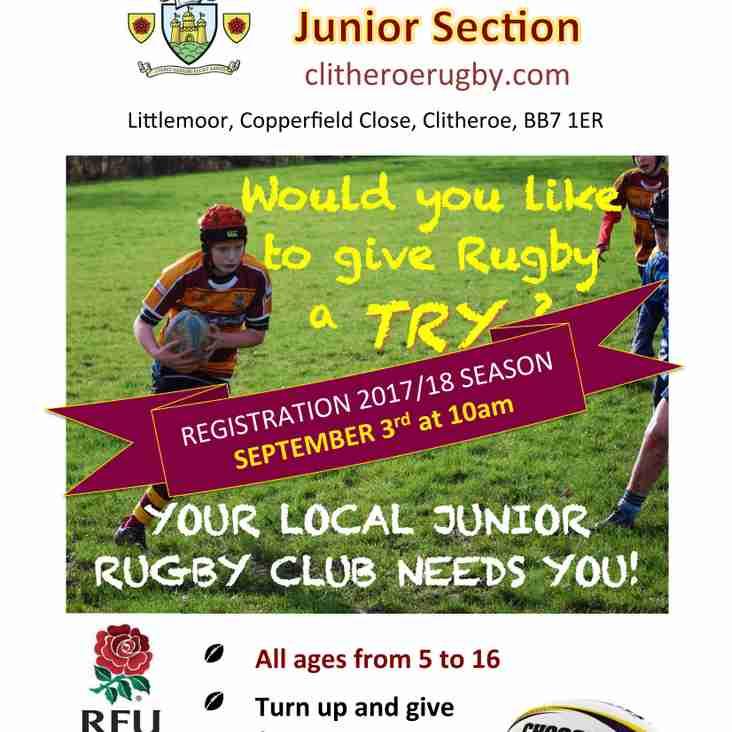 Junior/Mini Rugby Restarts Sunday 3rd Sept