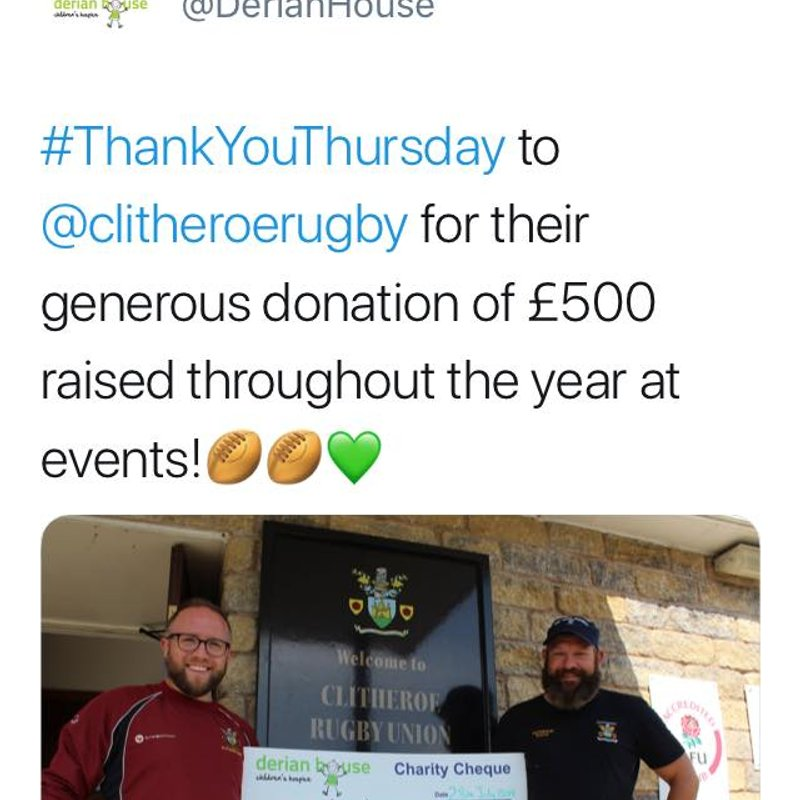 CRUFC Proud to Support Derian House