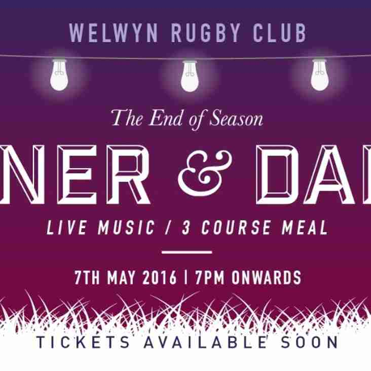 The End of Season Dinner & Dance - Saturday 7th May