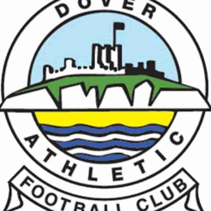 Vickers to play Dover Athletic in 1/4 Final of Kent Cup