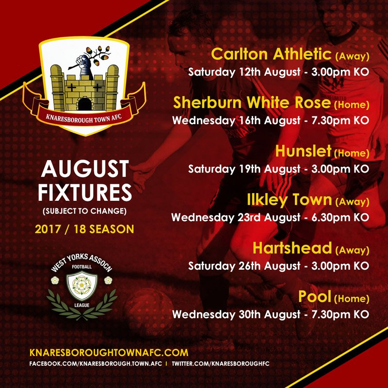 West Yorkshire Premier League - August Fixtures