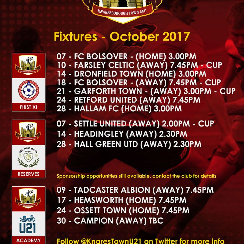 October's fixtures (may be subject to change)