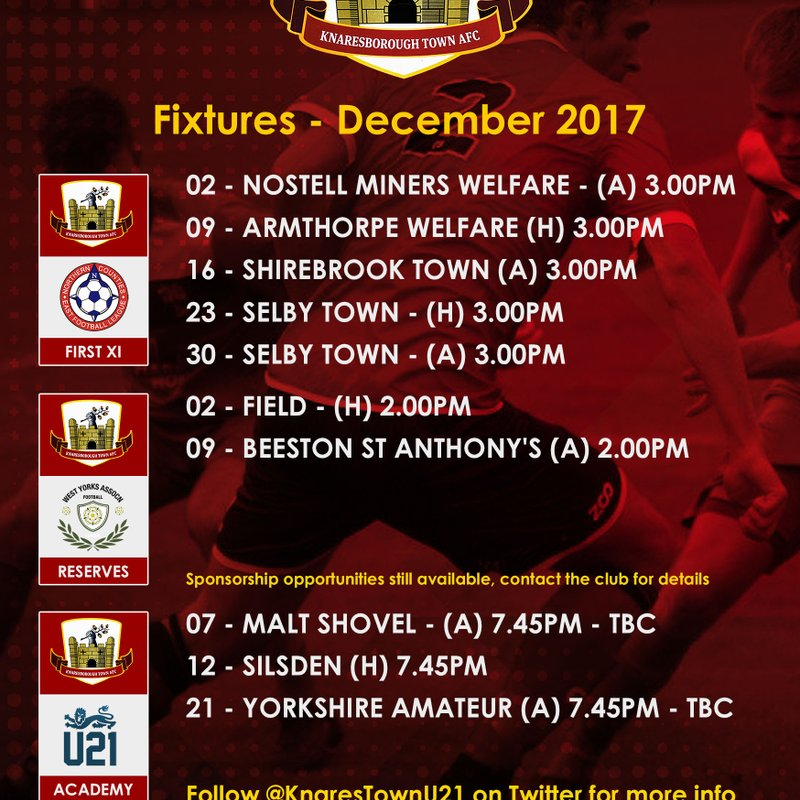 December Fixtures  (may be subject to change)