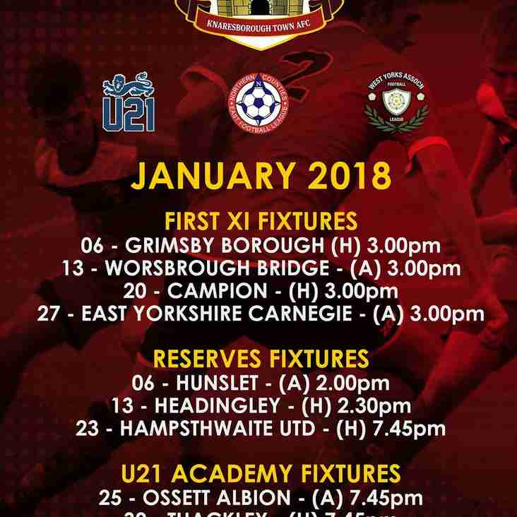 January Fixtures  (may be subject to change)