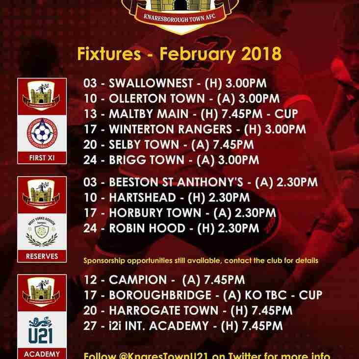 February Fixtures  (may be subject to change)