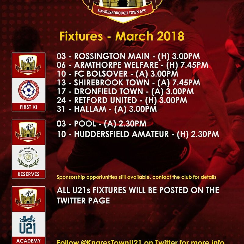 March Fixtures  (may be subject to change)