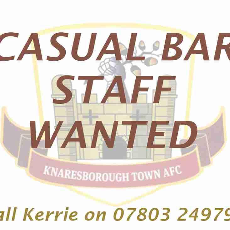 Bar staff vacancies