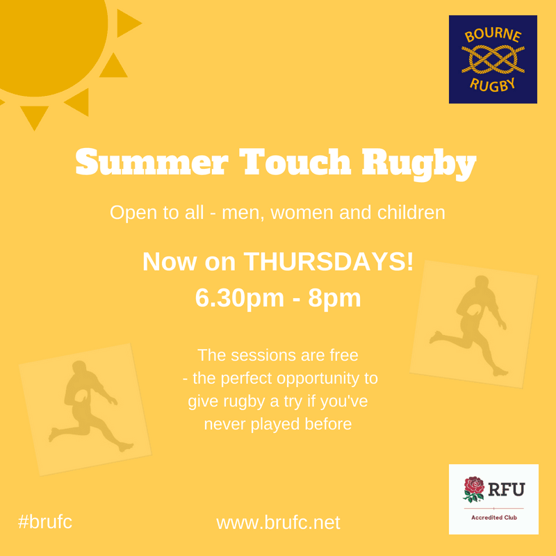Summer Touch Rugby now on Thursdays