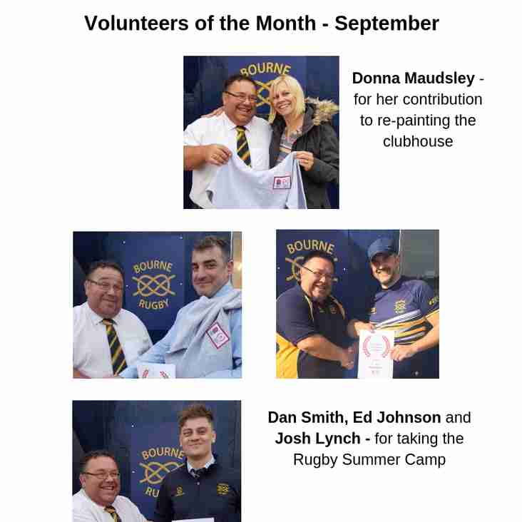 Volunteers of the Month for September