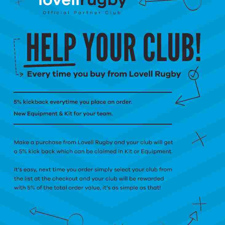 BRUFC is now a Lovell Rugby Partner Club