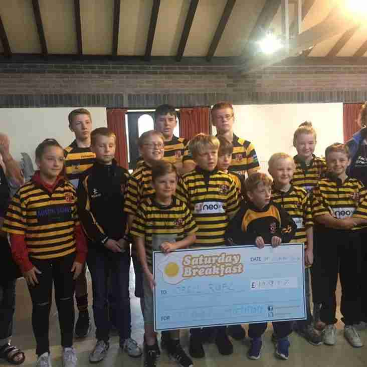 Orrell RUFC Mini and Junior Section cheque presentation