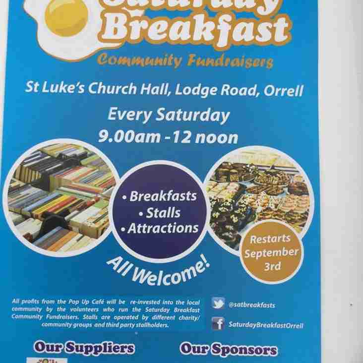 Come and join Orrell RUFC Mini and Junior Section for breakfast on 1st October (change of date)
