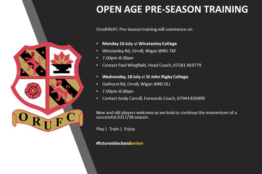 Only one week to go until Orrell RUFC Open Age Pre Season Training Starts