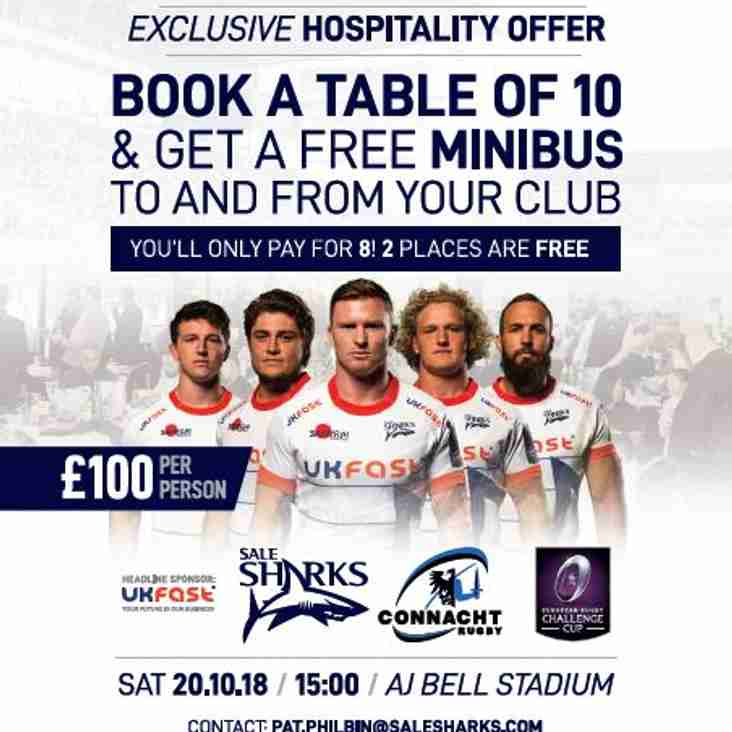 Don't fancy our Octoberfest on 20th October?  Why not go and enjoy a game at Sale Sharks instead!