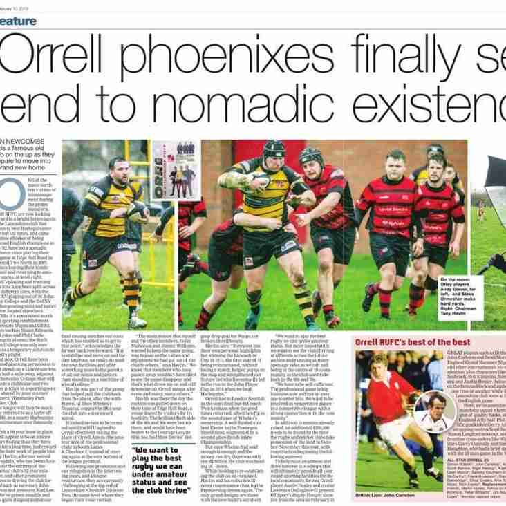 """Orrell phoenixes prepare to end nomadic existence""  says this week's edition of The Rugby Paper"
