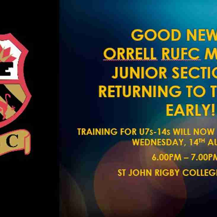 Good News! Mini and Juniors Training will recommence on 14th August