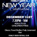 NEW YEARS EVE AT FRIMLEY GREEN FOOTBALL CLUB