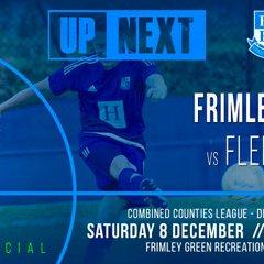 UP Next  Frimley Green V Fleet Spurs  Saturday 8th December 3pm