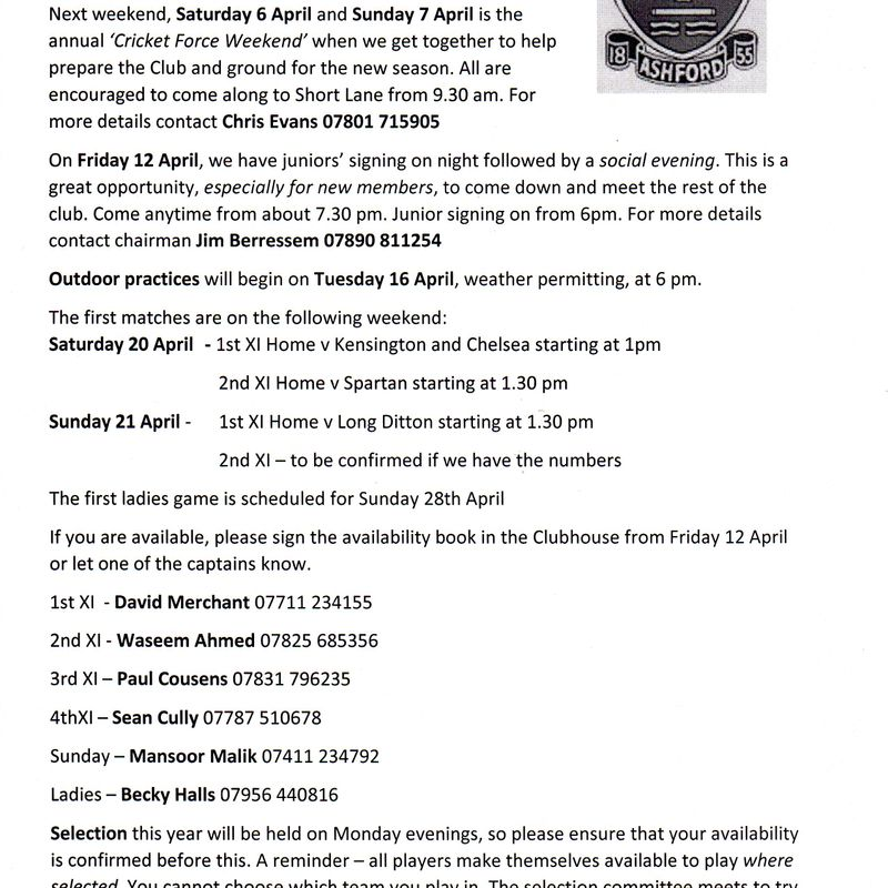 Club Captain's Newsletter