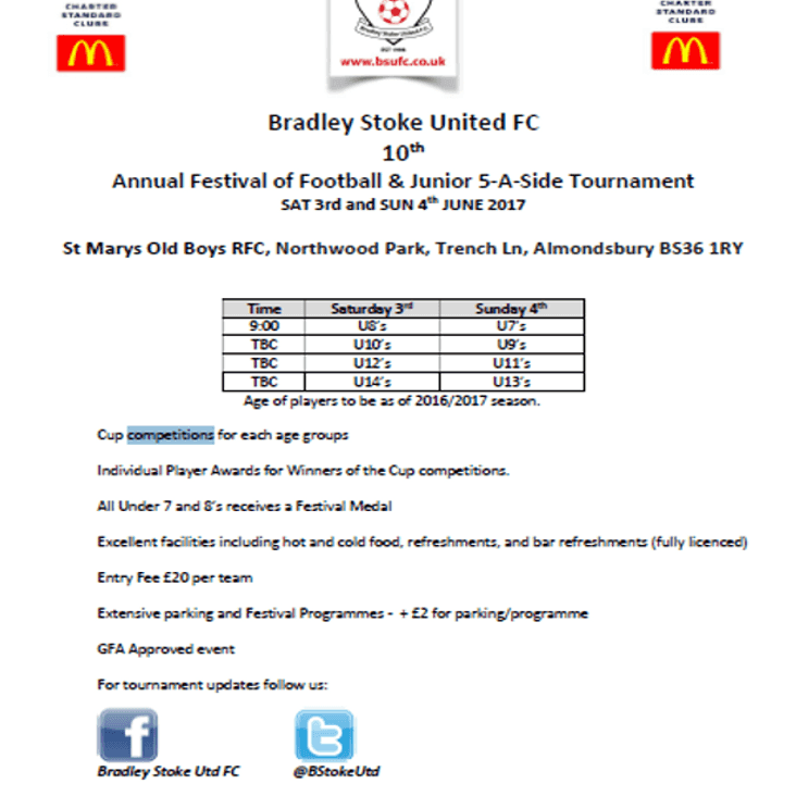 Bradley Stoke United FC 10th Annual Festival of Football & Junior 5-A-Side Tournament