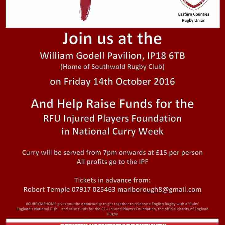 Curry Night at Southwold Rugby Club on the 14th October