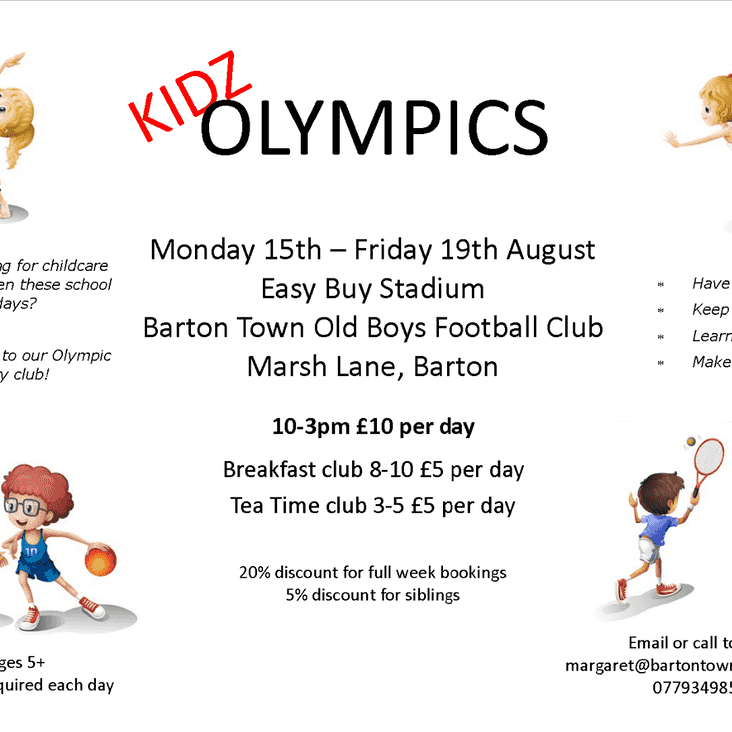 Needing to keep the kids entertained? Proud to announce Kidz Olypmics
